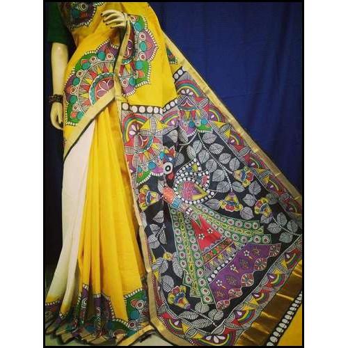 Cotton Printed Hand Painted Saree