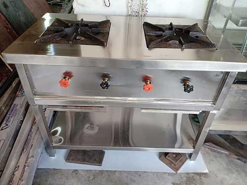 Steel Double Burner Cooking Range