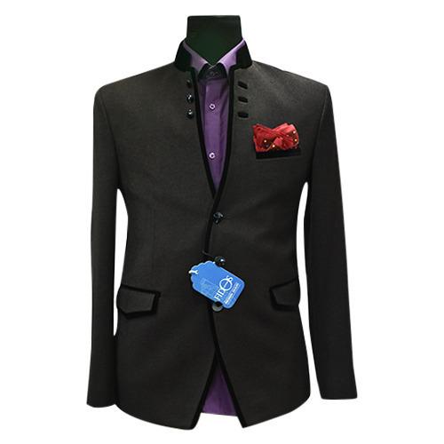 Mens Black Color Wedding Blazer Material: Polyester