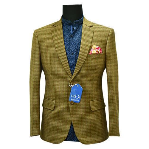 Yellow Mens Fawn Tweed Blazer