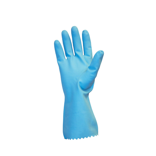 Plain Blue Nitrile Rubber Hand Gloves Water Proof