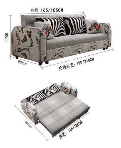 Printed Fabric Sofa Cum Bed