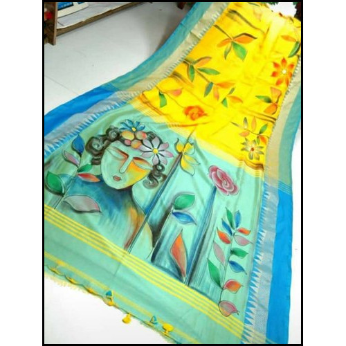 South Cotton Party Wear Bengal Handloom Hand Painted Cotton Saree