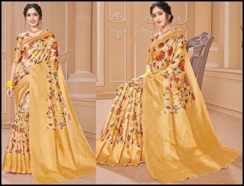 6.3 m (With Blouse Piece) Printed Banarasi Saree For Women