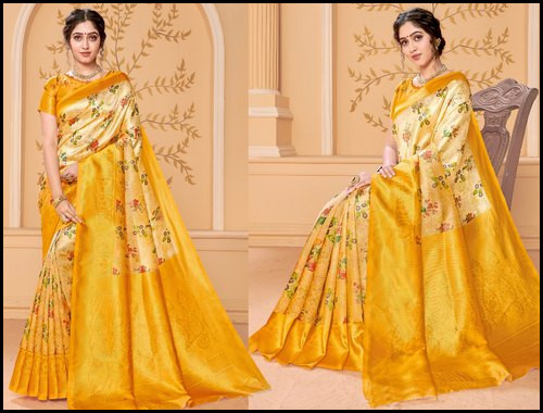6.3m Printed Banarasi Saree with Blouse Piece for Ladies