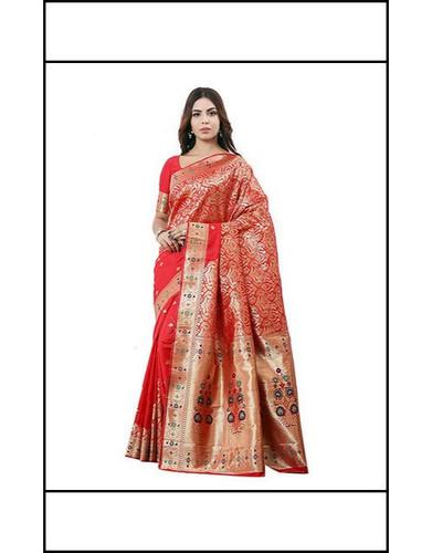 6.3m Real Zari Gold Red Banarasi Silk Saree