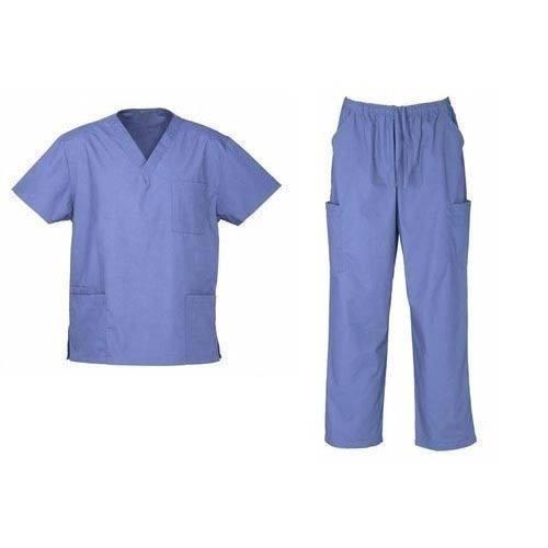 White Blue Cotton Hospital Uniform