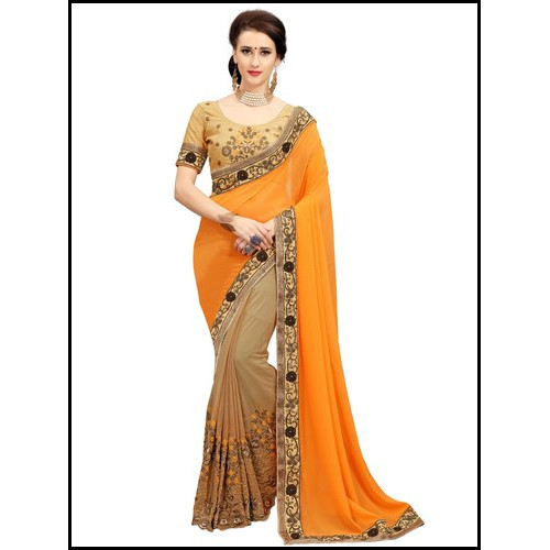 Floral Print Designer Half And Half Saree With Embroidery Work