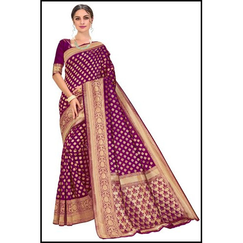 Ladies Purple Color Glory Designer Kanchipuram Silk Saree