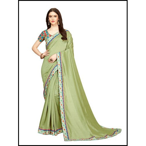Multicolor Party Wear Designer Embroidered Vichitra Silk Saree
