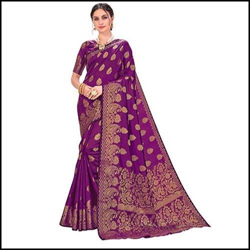 Real Zari Gold Purple Banarasi Silk Saree