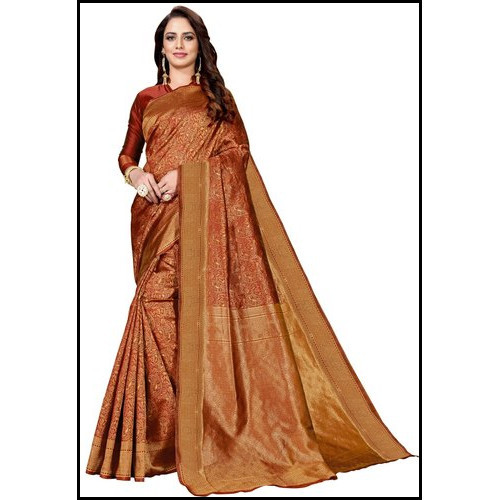 Real Zari Gold Wedding Wear Ladies Banarasi Silk Saree
