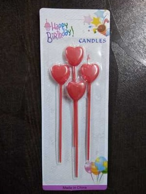 Red Heart Candle Stick for Birthday