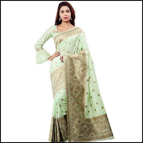 Zari Weaving Banarasi Silk Saree With Blouse Piece