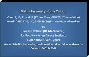 Maths Personal Home Tuition Class For 9, 10, 11 And 12