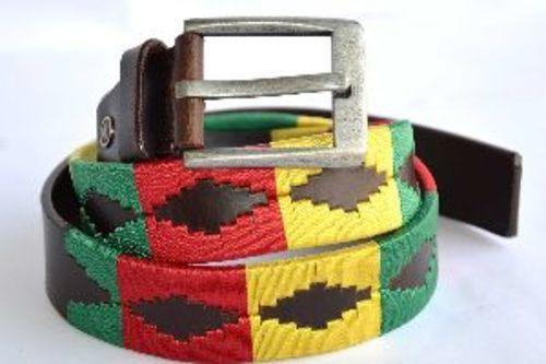 Embroidered Multicolor Leather Belt Gender: Unisex