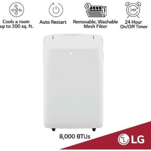 115V Portable Air Conditioner With Remote Control In White For Rooms Up To 20