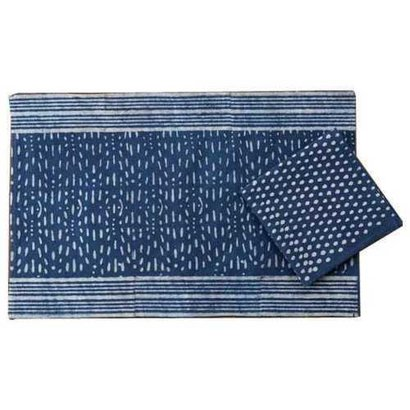 Water Absorbency Blue And White Block Printed Cotton Table Mats