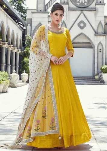 Yellow color Anarkali Ladies Dress