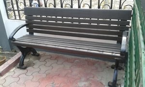 Metal Green And Brown Garden Bench