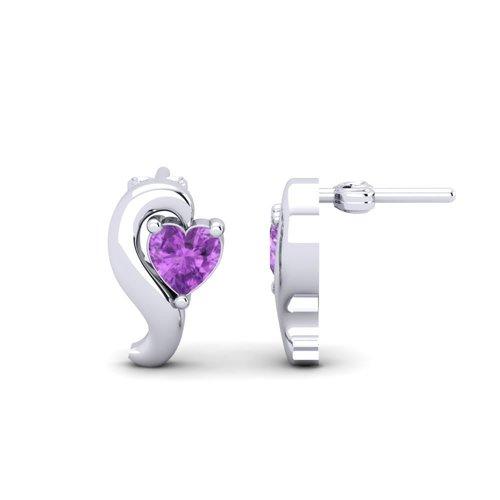 Sterling Silver Earrings With Amethyst Gemstone