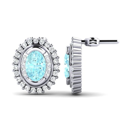 Sterling Silver Earrings With Aquamarine Gemstone