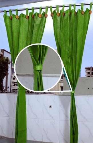 Plain Design Olive Green Curtain Size: 4.0ft x 7.5 ft