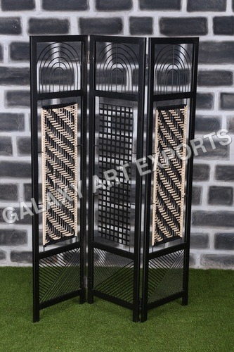 Beige And Black 3 Panel Screen Cum Divider