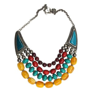 Acrylic And Resin Bead Multicolor Necklace