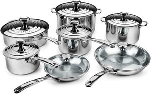 Le Creuset 14-Piece Stainless Steel Cookware Cooking Pot Set For Sale
