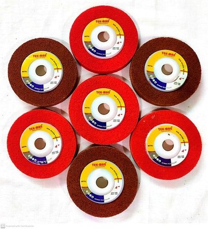 """Red And Maroon 4"""" Non Woven Polishing Wheels"""