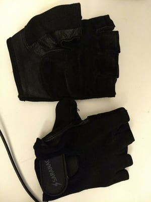 Weight Lifting Fingerless Leather Gloves Black