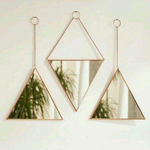 Multicolor 10 Inch Triangle Decorative Mirror