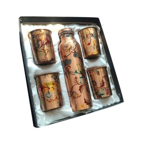 Brown Printed Copper Glass Bottle Set