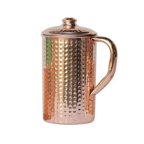 Brown Round Hammered Copper Jug