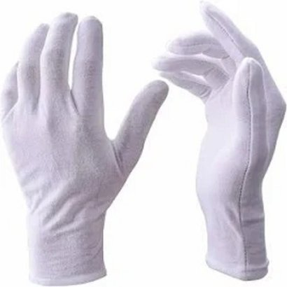 White Antimicrobial Antiviral Water Repellent Cotton Hand Gloves