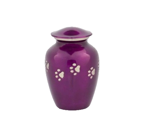 Coated Purple Paw Printed Pet Urns