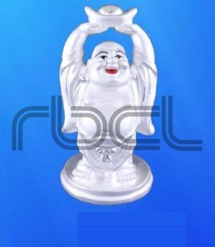 Easy To Clean 999 Silver Laughing Buddha Statue