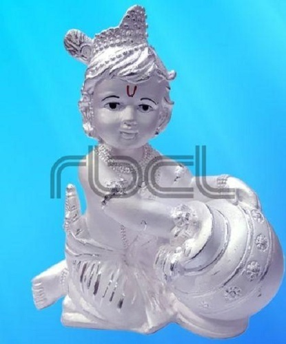 999 Silver Makhan Chor Statue Easy To Clean
