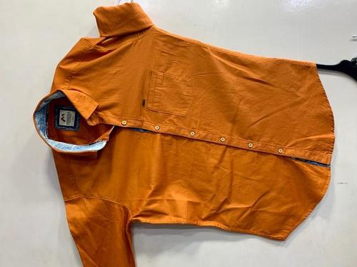 Men Light Orange Solid Color Casual Shirt Age Group: 18-40