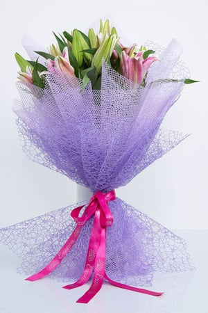 Pink Oriental Lily and Pink Wax Flowers