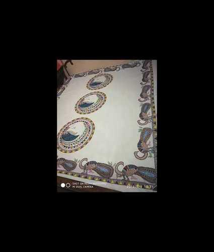 Hand Painted Madhubani Art Bed Sheet