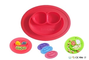 Oval Smiley Child Silicone Dinner Plate Sucker