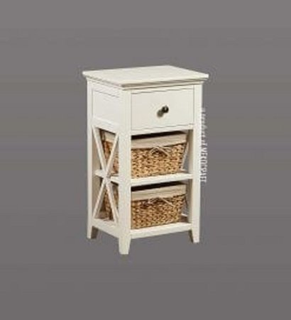 White Wooden Cabinet With 3 Seagrass Drawers