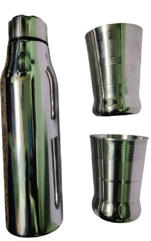 Stainless Steel Bottle and Glass Set