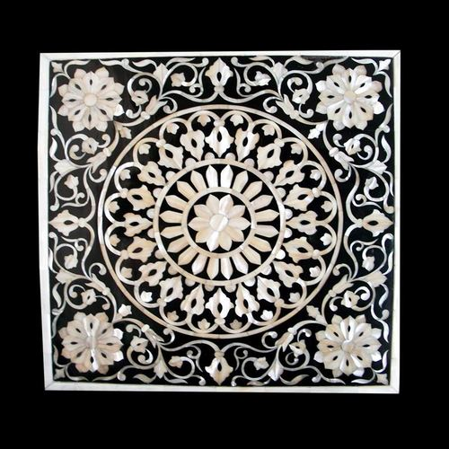 White Black Marble Overlay Tabletop