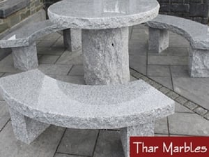 Granite Garden Benches With Round Table