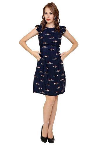 Short Printed Vintage American Crepe Dress