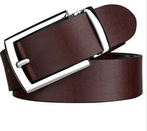 Cherry Color Mens Leather Belts With Stainless Steel Buckles