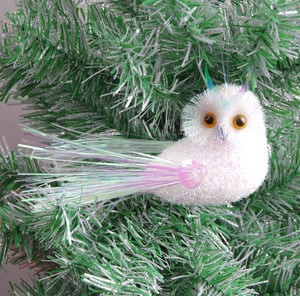 Hanging Artificial Owl Ornament For Christmas Tree Decorations